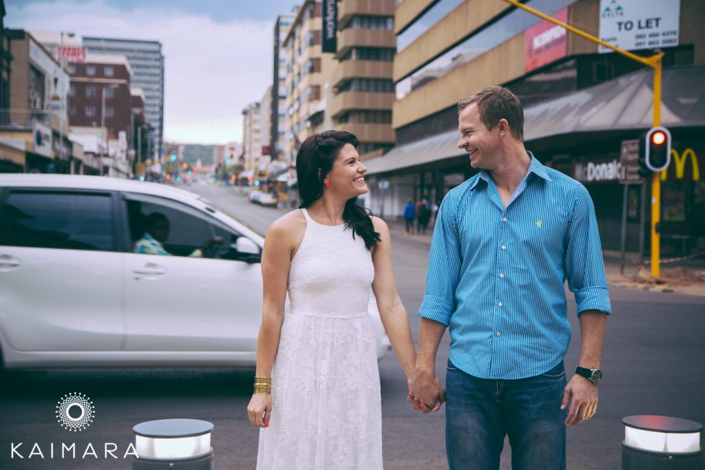 Couple walking around Pretoria CBD